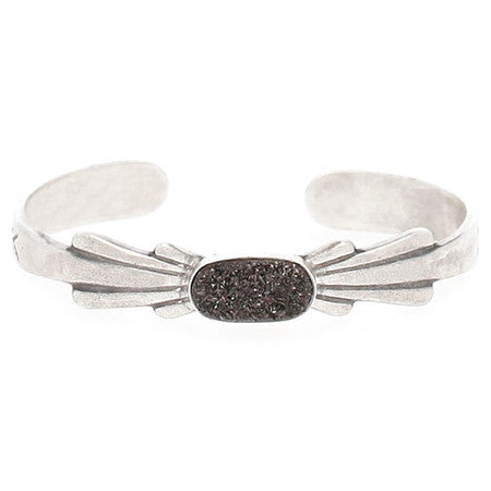 Gunmetal Agate and Sterling Silver Moonbeam Cuff