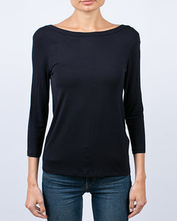 Relaxed Elbow Sleeve Top With V Back | Noir