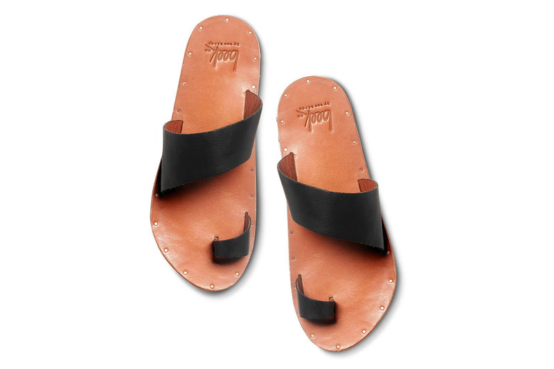 Finch Leather Slide Sandal | Black & Tan