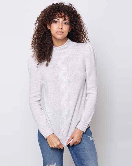 Cable Mock Neck Sweater | Glacier