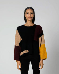 Oversized Colorblock Crew Neck Sweater