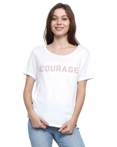 'Courage' Short Sleeve Tee | White