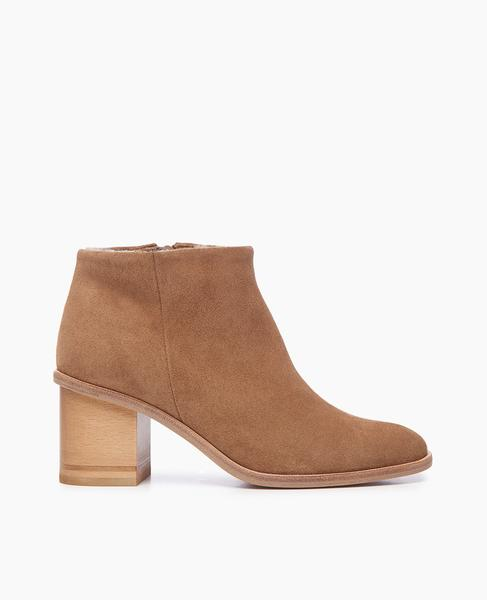 Bobo Shearling Lined Heeled Bootie | Evolo Tobacco