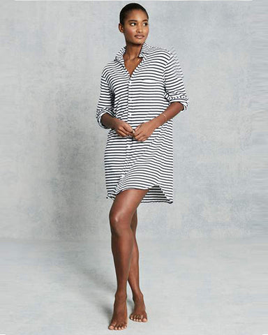 Mary Relaxed Button Down Shirt Dress | White & Navy