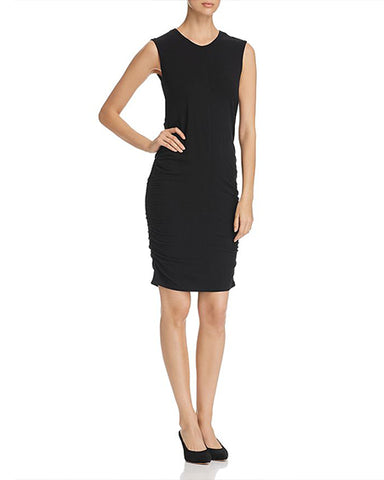 Sleeveless Dress with Side Ruching | Noir