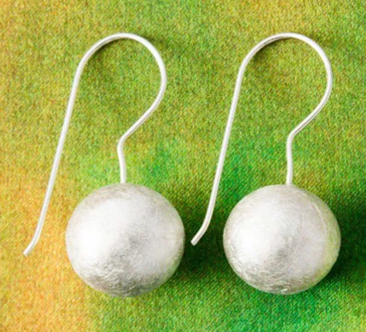 Sterling Silver Brushed Ball Earrings