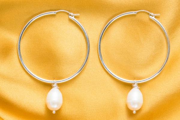 Sterling Silver Hoops with Single Pearl