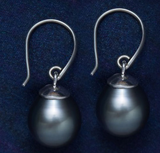 Tahitian Pearl Earrings in Sterling Silver
