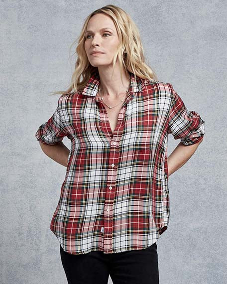 Eileen Modal Button Down | Red & White Plaid
