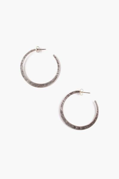 Hammered Hoops | Sterling Silver