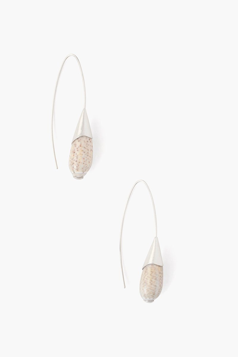 Shell Thread Through Earring | White