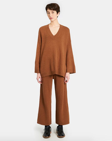 Gertrude Cashmere Blend Swing Sweater | Chestnut