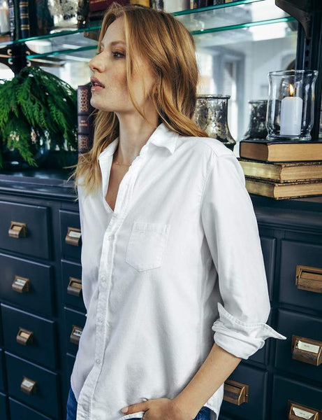 Eileen Moleskin Button Down | White