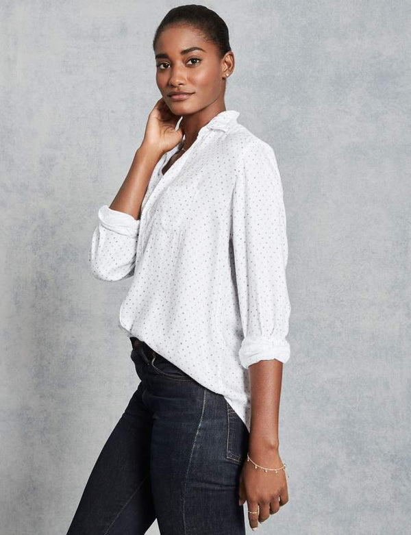Eileen Modal Button Down | Faded Grey Polka Dot