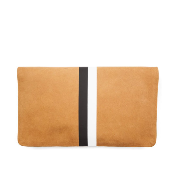 Foldover Clutch with Stripe | Camel