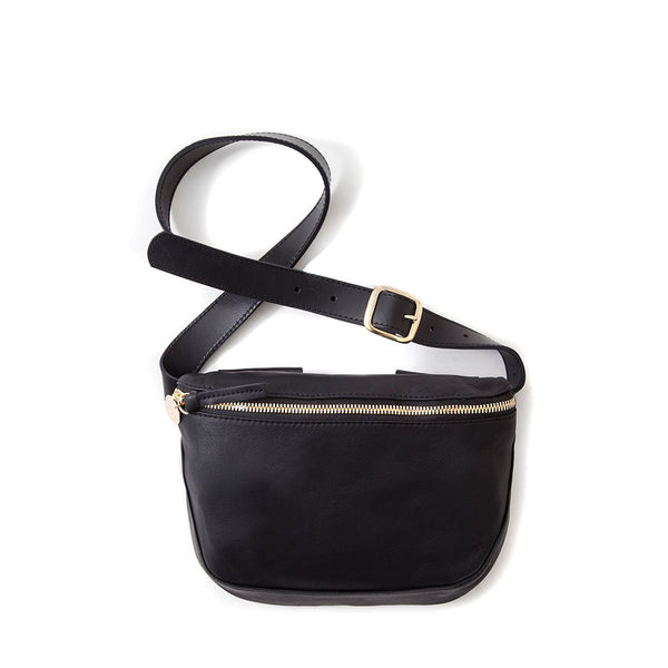 Velvet Leather Fanny Pack | Black