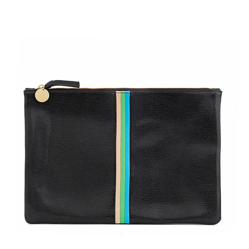 Flat Clutch with Stripe | Pink, Green & Cerulean