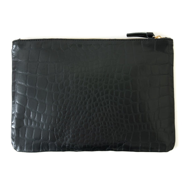 Flat Clutch Inlaid Stripe | Black Croco
