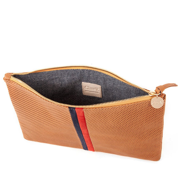 Flat Perforated Clutch | Cuoio Navy & Red Stripe