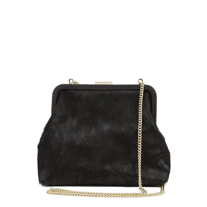 Flore Hair Calf Purse | Black