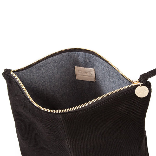 Foldover Clutch | Black Corded Suede
