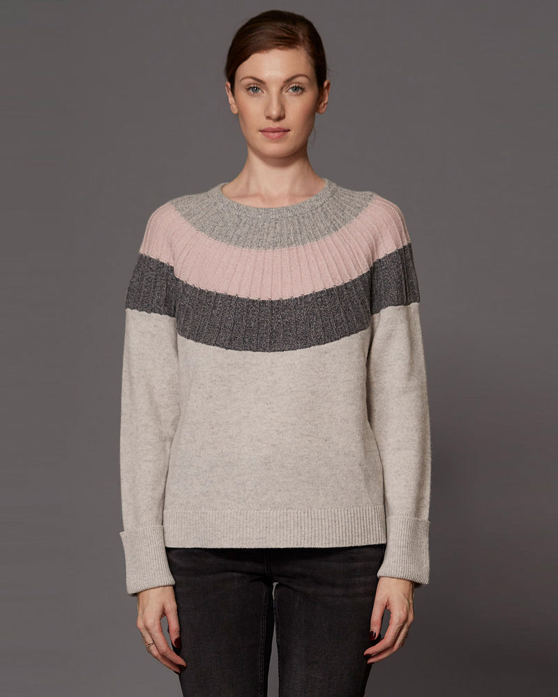 Striped Yolk Crew Neck Sweater