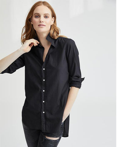 Grayson Poplin Button Down | Sheer Black Stripe