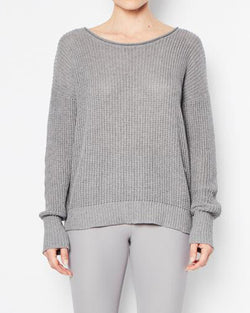 Ramsey Cotton Waffle Knit Sweater | Mica Grey