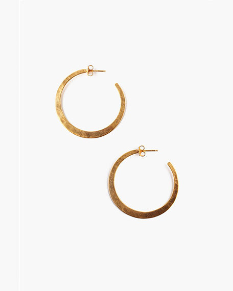 Hammered Hoops | Yellow Gold