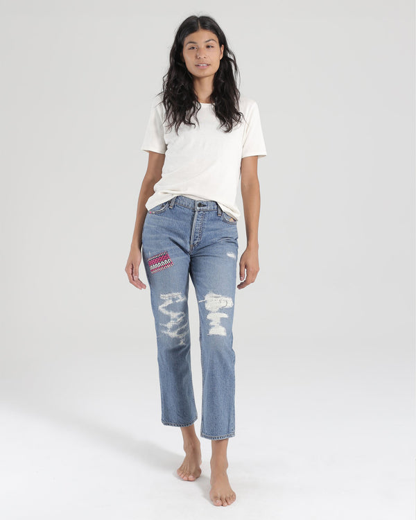 High Rise Embroidered Straight Jean