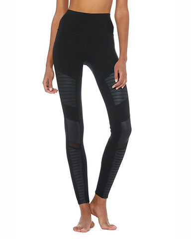 High Waist Moto Legging | Black Glossy
