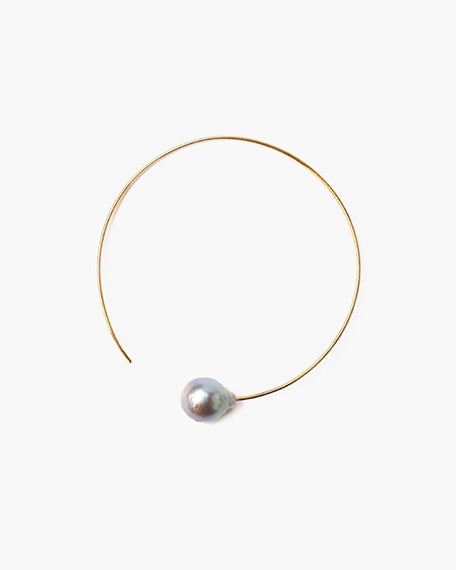 Yellow Gold Hoop With Grey Pearl