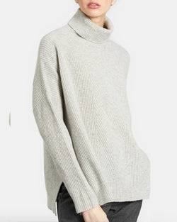 Harrison Merino Turtleneck | Light Heather Grey