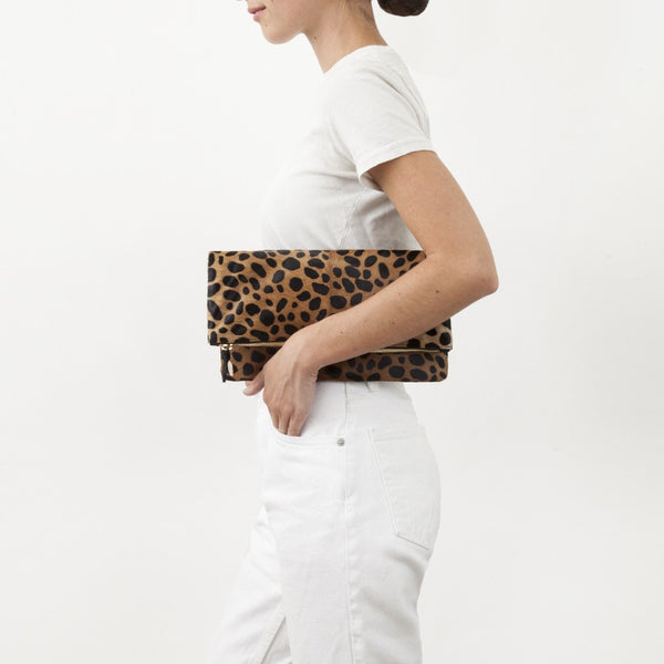 Foldover Clutch | Leopard Hair