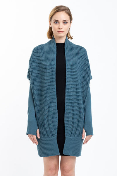 Chunky Stitch Cocoon Cardigan | Dusty Slate