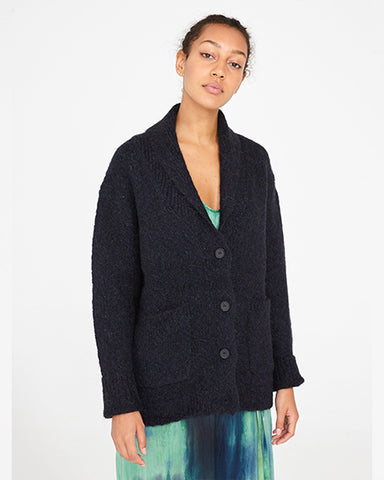 Intarsia Shawl Collar Cardigan | Midnight