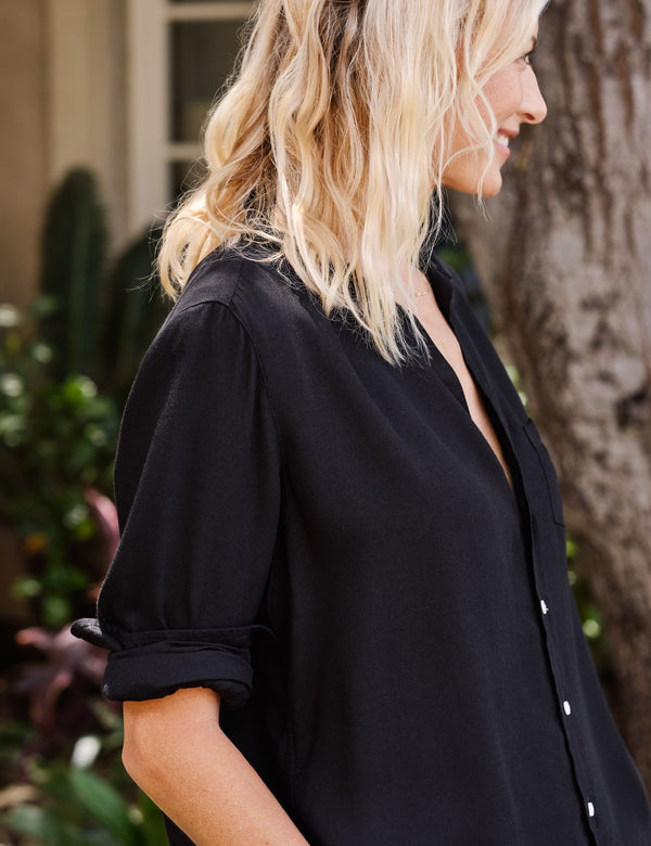 Eileen Modal Button Down | Solid Black