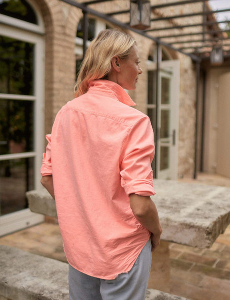 Eileen Denim Button Down | Neon Pink