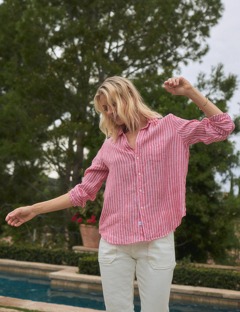 Eileen Linen Button Down | Washed Red Stripe