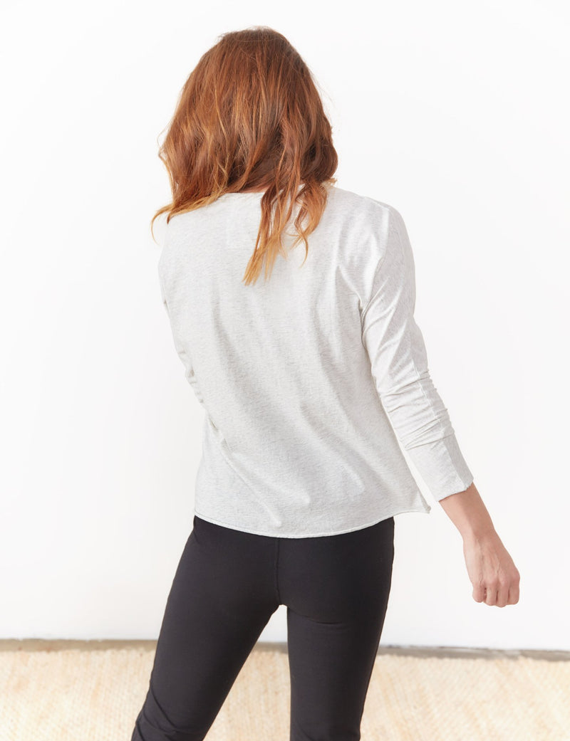 Continuous Sleeve Tee | Heather White Melange