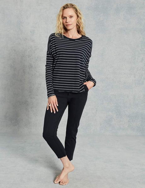 Shirttail Tee with Slim Sleeve | British Royal Navy Stripe