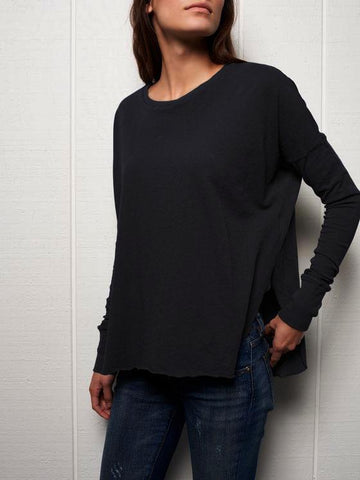 Side Split Long Sleeve Tee | Blackout