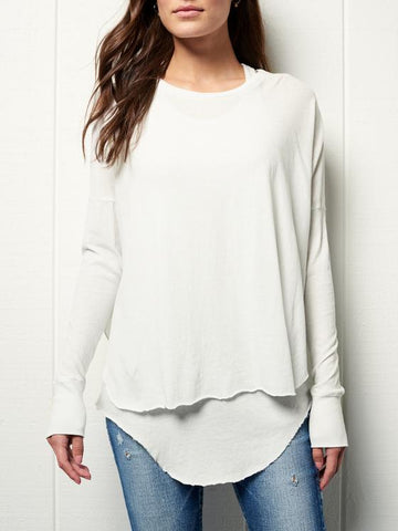 Side Split Long Sleeve Tee | Dirty White