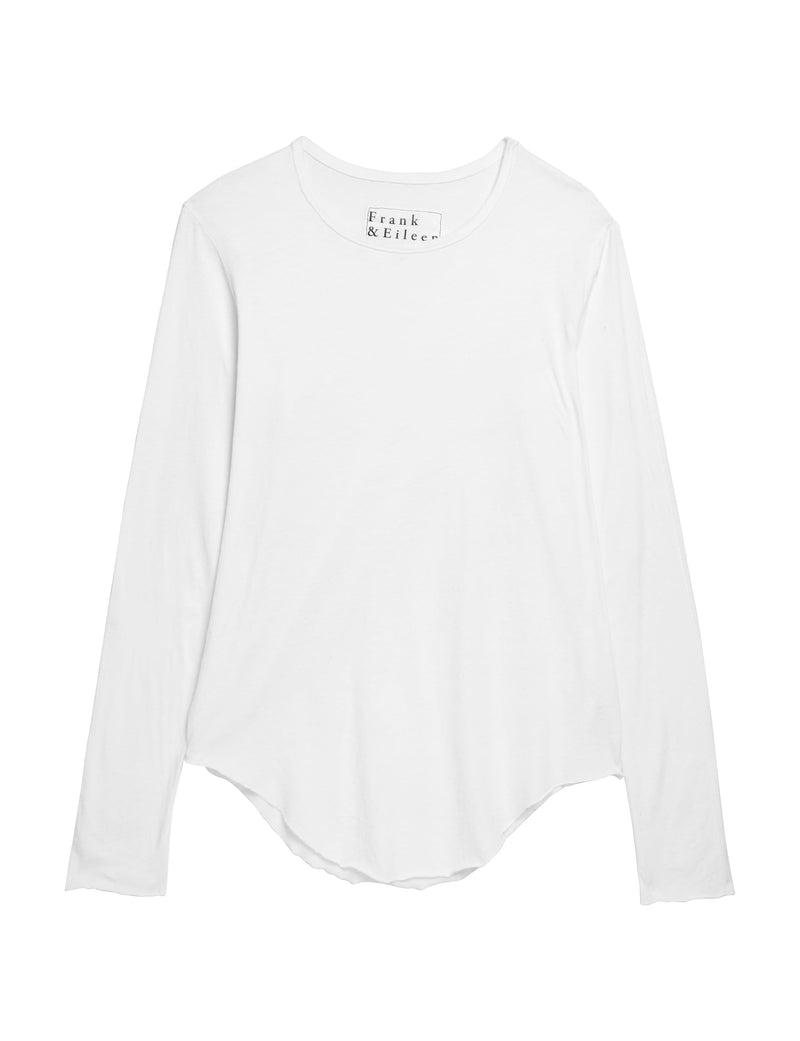 Long Sleeve Fitted Crew Neck Tee | White
