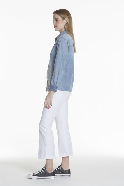 Leo Denim Crop Flare | White