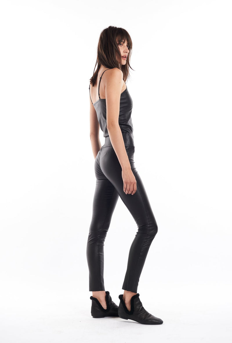 Black Leather Ankle Legging