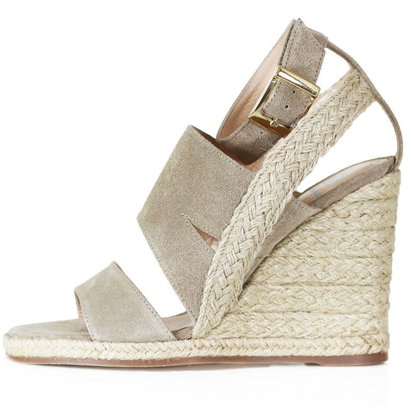 Lilly Woven Wedge | Beige Suede
