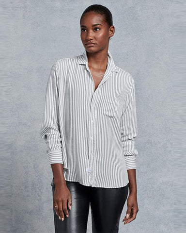 Eileen Modal Button Down | Black Double Stripe