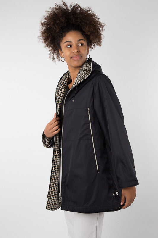 Kenya Reversible Waterproof Coat | Chocolate & Navy