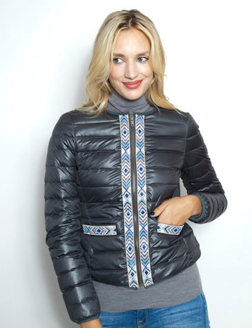 Down Jacket With Embroidery | Pewter
